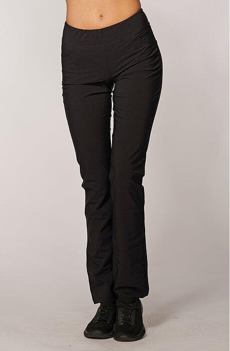 Letné dámske čierne nohavice s úzkymi nohavicami 377