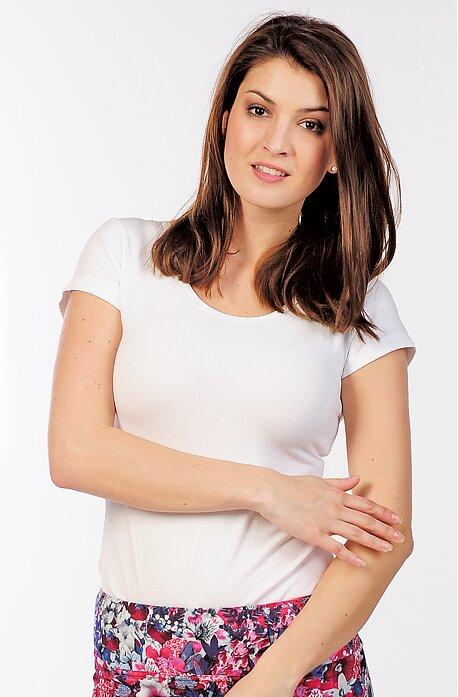 Jednoduché bavlnené biele dámske tričko 82