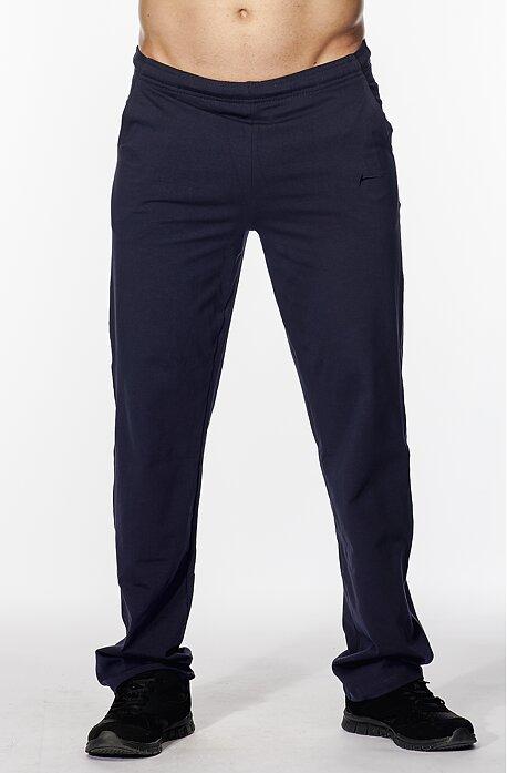 Užšie bavlnené tmavo modré pánske nohavice bez potlače 417
