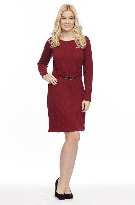 Elegantné červené dámske šaty s ozdobnou sponout 7071