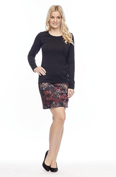 Krátka kvetinová dámska sukňa s rozparkom 149