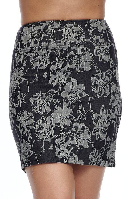 Kratšie šedá kvetovaná dámska sukňa s rozparkom 812