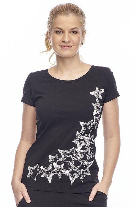 Bavlnené čierne tričko s krátkym rukávom 43