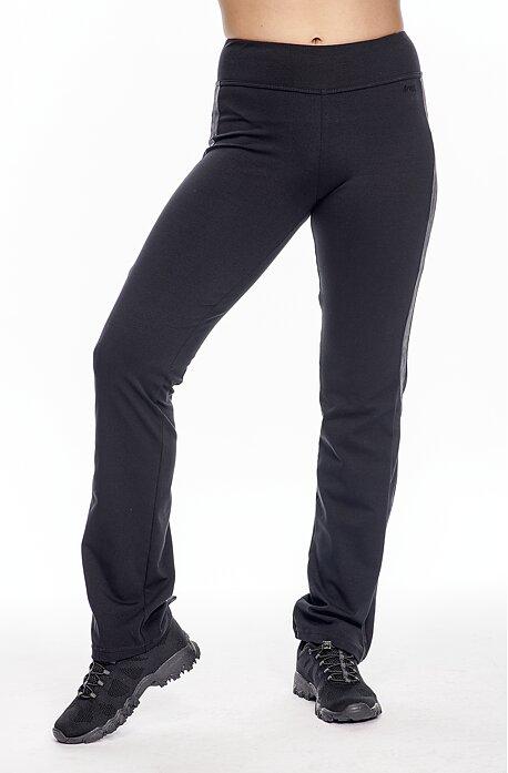 Úzke čierne dámske nohavice s pruhmi z kože a s vreckami 304