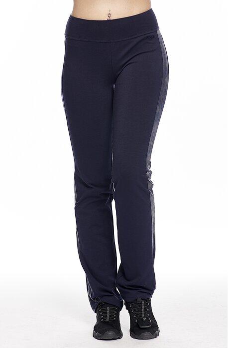 Úzke tmavo modré dámske nohavice s pruhmi z kože 376