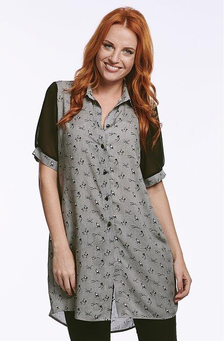 Dlhšia košeľová dámska blúzka s vtáčikmi 7799