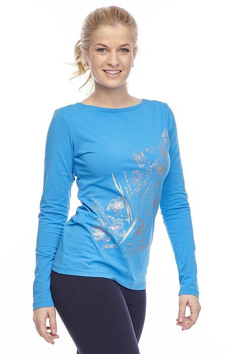 Bavlnené modré dámske tričko s potlačou 62