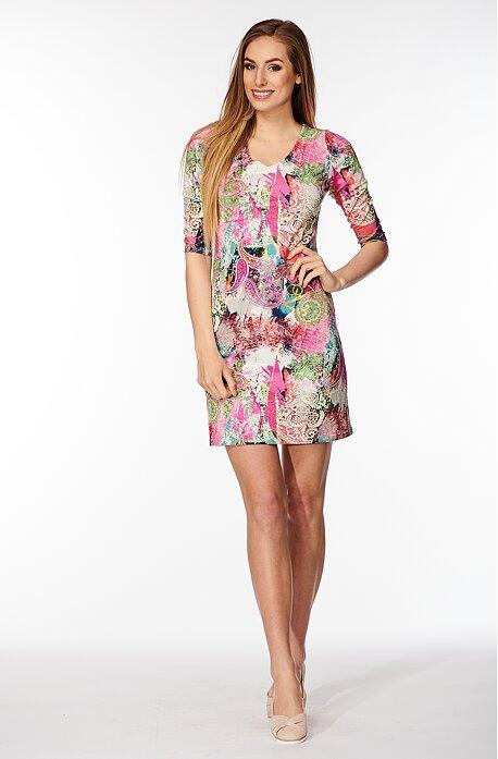 Priliehavé farebné dámske šaty s 3/4 rukávmi 809