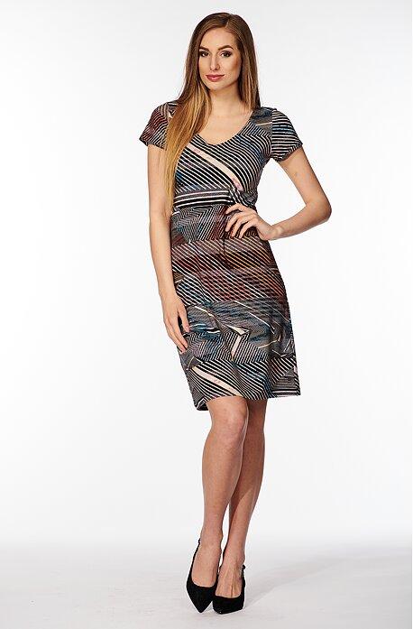 Farebné pruhované dámske šaty s rukávmi 7030