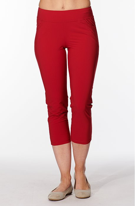 Funkčné červené dámske 7/8 nohavice s vreckami 246