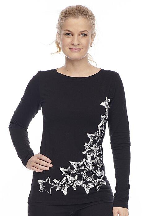 Bavlnené čierne tričko s dlhým rukávom 56