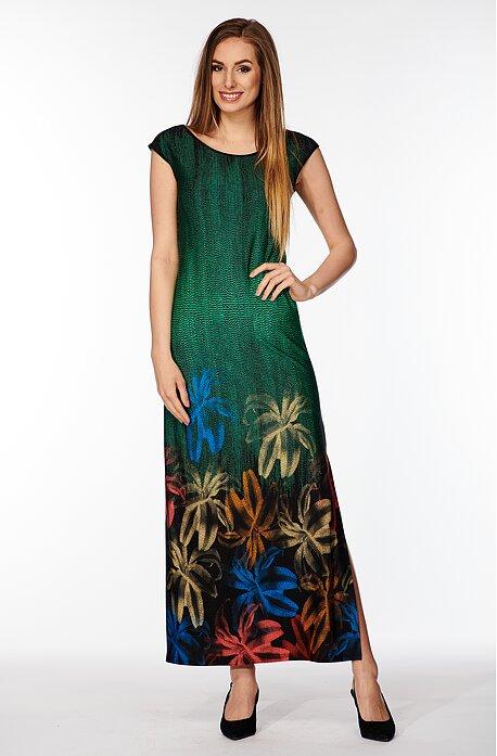 Dlhé zelené dámske šaty s kvetmi a rozparkom 7104