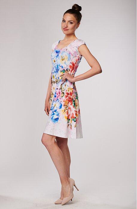 Biele dámske šaty s farebnými kvetmi 7097