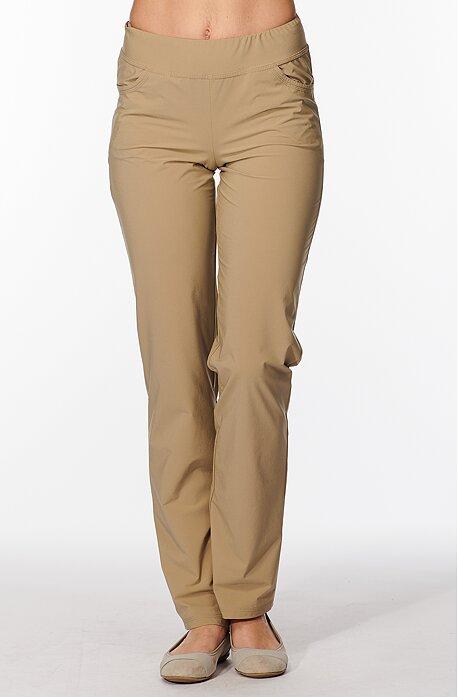Letné béžové dlhé dámske nohavice s vreckami 303