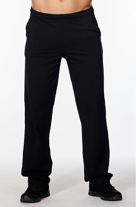 Užšie bavlnené čierne pánske nohavice s potlačou 427