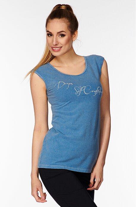 Dlhšie riflové dámske tričko s nápisom 72