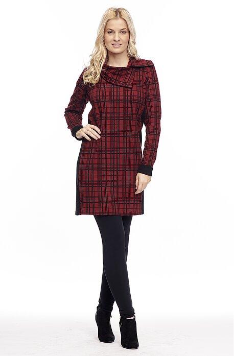 Kratšie červené kárované dámske šaty 7052