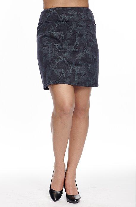 Kratšia modrá maskáčová dámska sukňa s širokým pásom 123