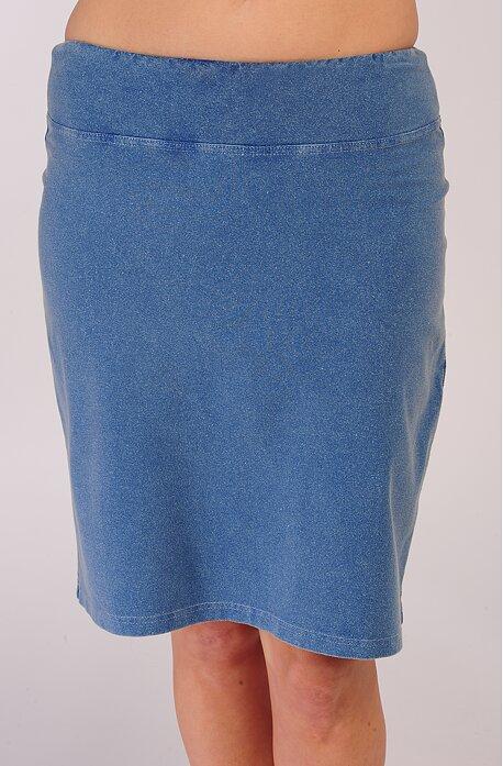 Dlhšia riflová dámska sukňa s rázporkom a vreckami 199