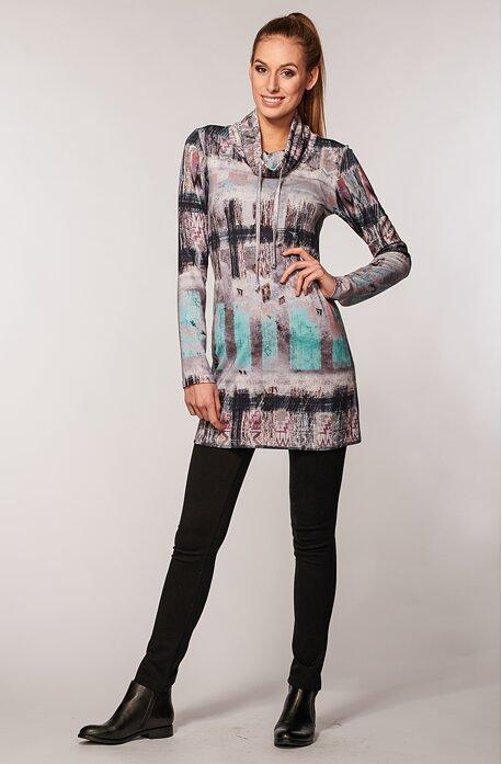 Kratšie farebné dámske šaty s stojačikom 7110