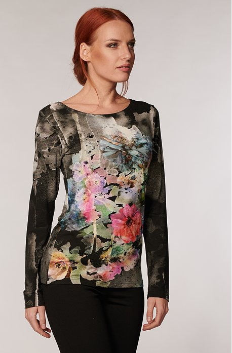 Priliehavá čierna dámska blúzka s farebnými kvetmi 807