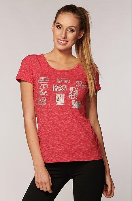 Melírované ružové dámske tričko s potlačou 33