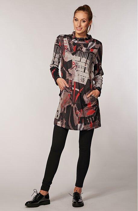Voľnejšie hnedooranžové dámske šaty s vreckami 7057