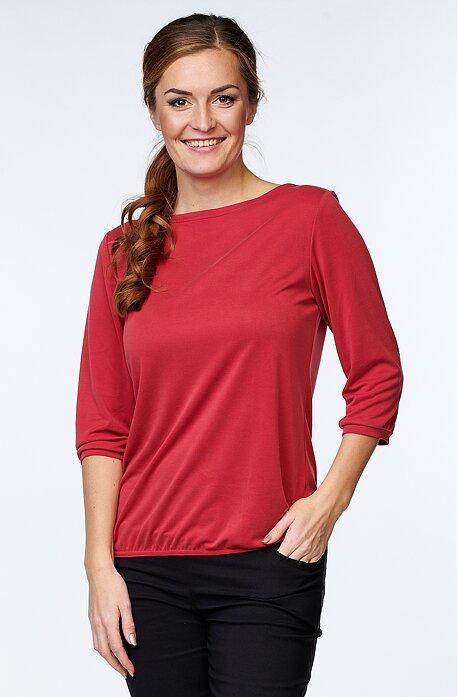 Elegantná červená dámska blúzka s 3/4 rukávmi 7837
