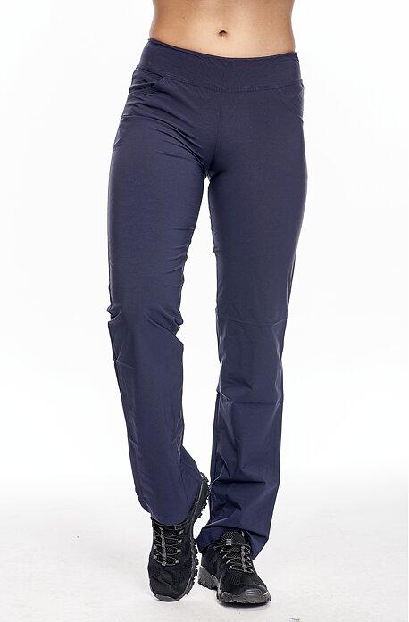 Letné tmavo modré dlhé dámske nohavice s vreckami 303
