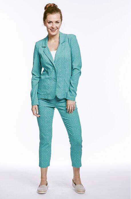 Elegantné smaragdové dámske 3/4 nohavice bez vreciek 873