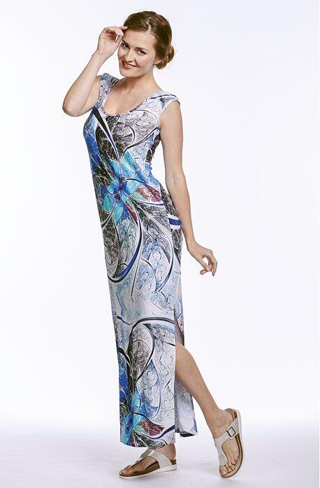 Dlhé letné kvetované dámske šaty s rozparkom 7006
