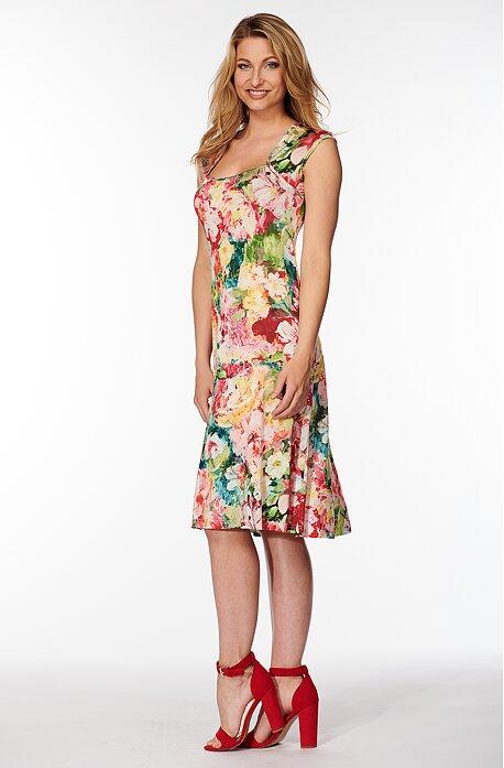Letné farebné dámske šaty s kvetmi 7084