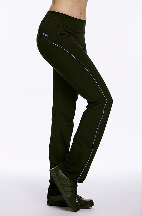 Dlouhé sportovní dámské kalhoty s tyrkysovým lemem 393