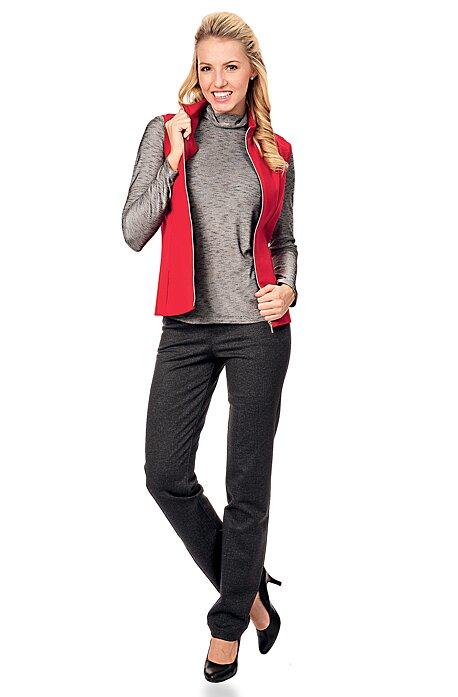 Elegantní antracitové dlouhé dámské kalhoty 327