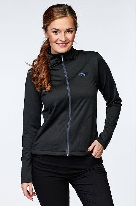 Celopropínací černá dámská bunda s kapsami 624