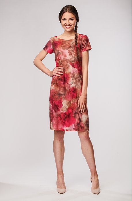 Přiléhavé červené květované dámské šaty 7086