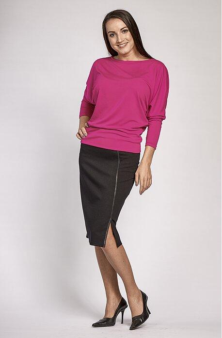 Dlhšia čierna dámska sukňa s rozparkom 155