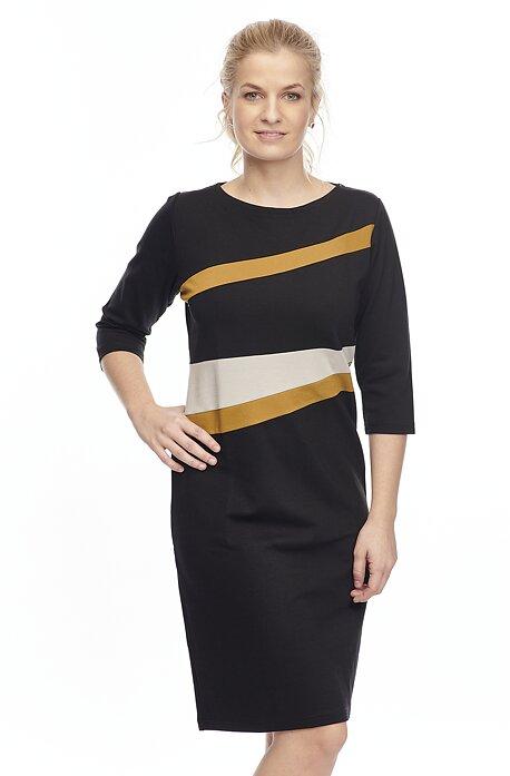 Elegantné čierne dámske šaty s pruhmi 7167