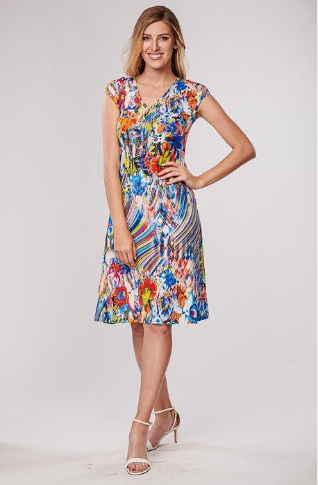 Letní volnější modré květované dámské šaty 7108