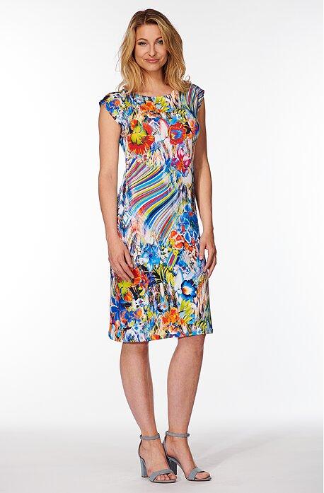 Elegantné kvetinové dámske šaty so spadnutými rukávmi 7117