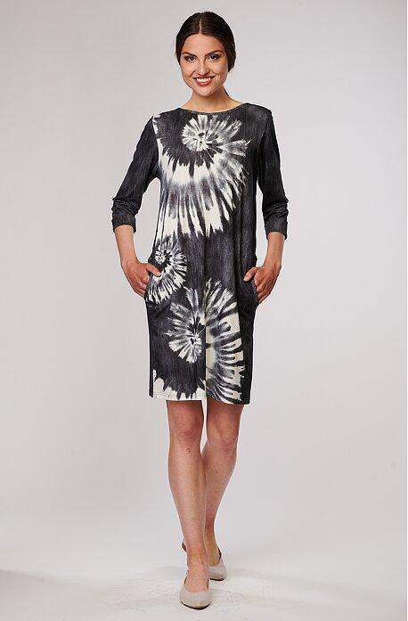 Volnější šedé batikované dámské šaty s kapsami 7114