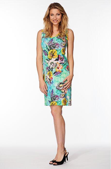 Letné priliehavé tyrkysové dámske šaty s kvetmi 7056