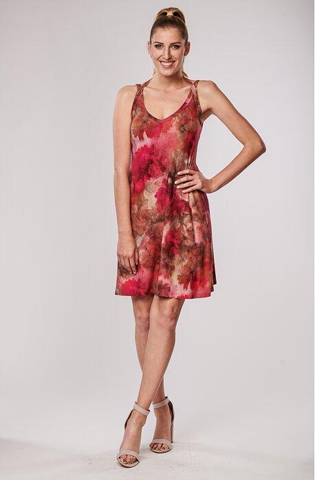 Letní červené květované dámské šaty na ramínka 7020